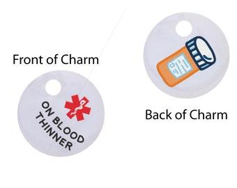 On Blood Thinner Medical Alert Key Ring Charm,Medical ID, Medic Alert, Warfarin, Heart Condition,64