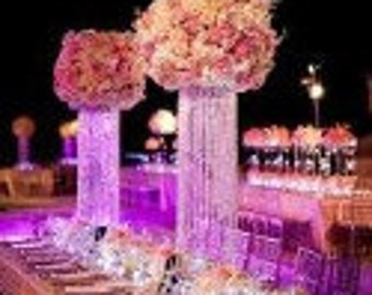 "30"" Glamorous Column Enchanted Chandelier Centerpiece With Riser Wedding & Special Occasion Centerpiece"