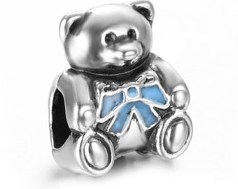 European Charm BOY BEAR with Blue BOW Silver Bead Fits Large Hole Pandora European / Bracelets / Necklace