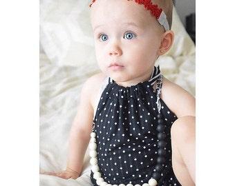 Black & White Polka Dot and Stripe Ruffle Back Romper - Sunsuit