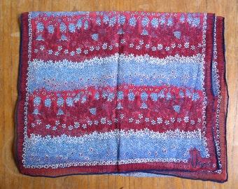 Free USA Shipping Vintage Vera Neumann Verasheer Oblong Scarf Red Blue Floral