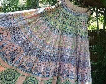 Vintage 60s indian block print skirt