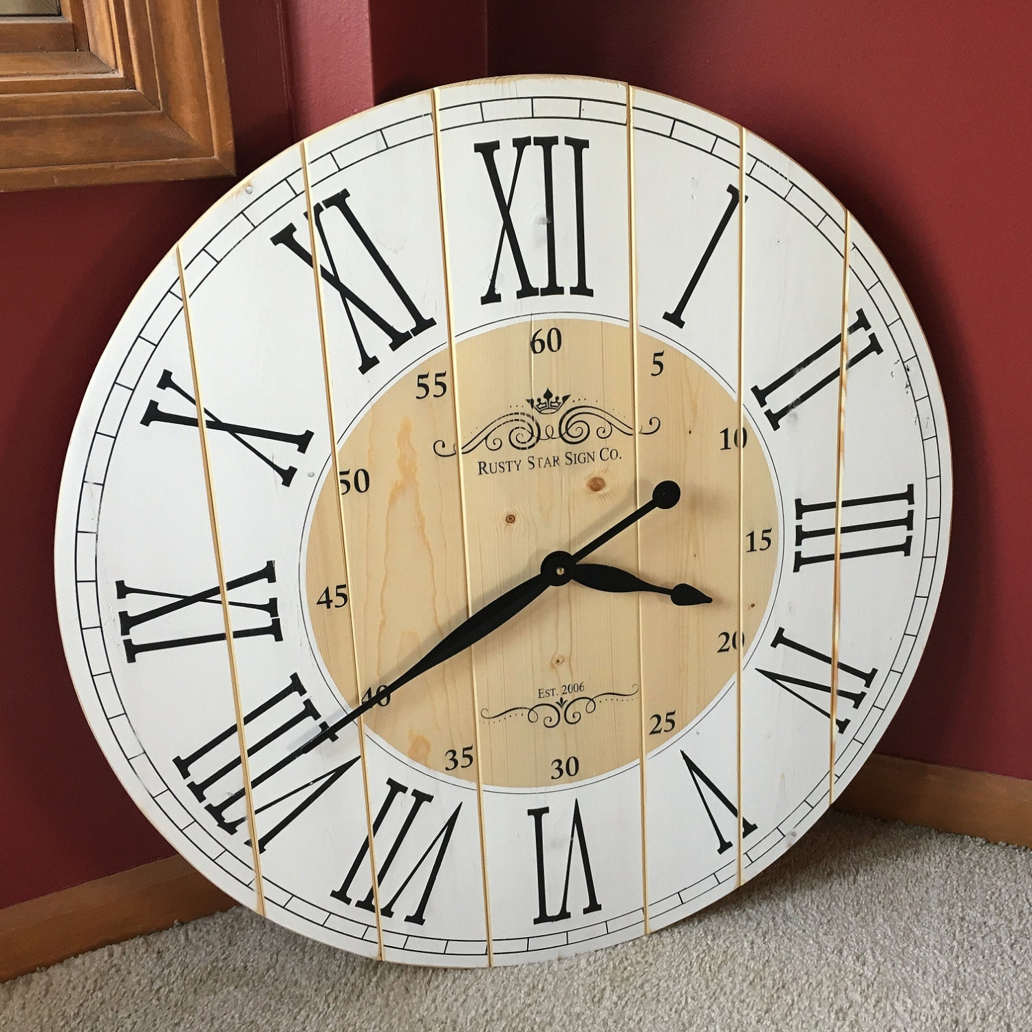 28 Inch Rustic Wall Clock Large Wooden By Rustystarsigncompany