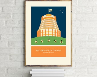 A hive of activity illustration. A3 or A4 print – Wellington New Zealand series.