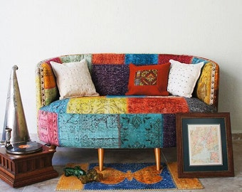 Custom Sofa, coach, Long Sofa, Vintage, Boho, Tribal, Upholstered Sofa, Turkish, Furniture/Made to order
