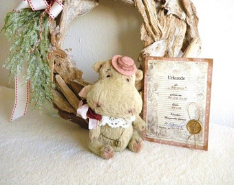 "OOAK Teddy, artist Teddy Bear, artist Teddy bear ""Benno"", bear 16 cm with certificate, vintage, shabby"