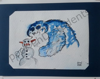 Let's Make A Snowman Wampa... ORIGINAL watercolor