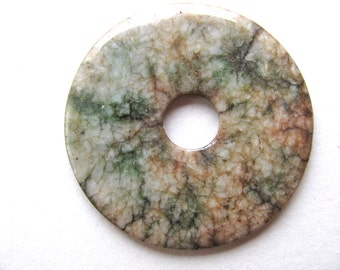 Agate donut pendant, moss green, orange and brown, 54mm , Jewelry supply B-1787