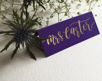 Hand Written Calligraphy Place Cards - wedding party name place cards gold ink