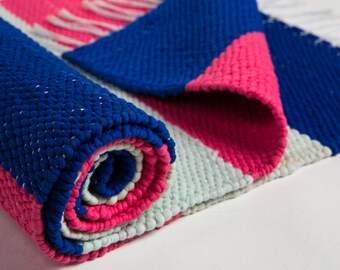 Royal blue, mint, pink table runner, cotton table runner,dining table cover, reversible, weaving table runner, redy to ship