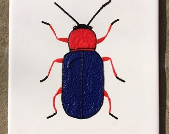 Ceramic Tile Painting, Original, Red and blue bug beetle creepie crawley insect plaque