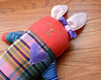 Pink Plaid Plush Bunny (Easter Bunny, newborn toy, rabbit, stuffed lovie, plush lovey, plushie, handmade gift, soft baby toy, Baby Shower)