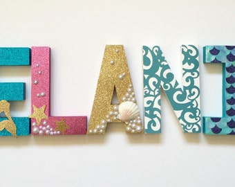 Teal, Fuschia and gold Mermaid/ Under the Sea Letters