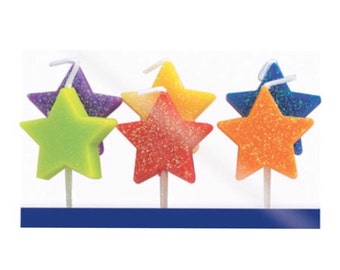 Birthday Candles, Set of 5, Glitter, Stars Candles, Red, Lime, Purple, Yellow, Blue Orange, candles, Stars, Boy, Girl, Birthday, Party