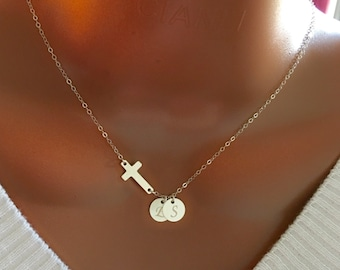 Sterling silver Cross and Discs necklace, Personalized necklace, Personalized initial disc, Personalized gift