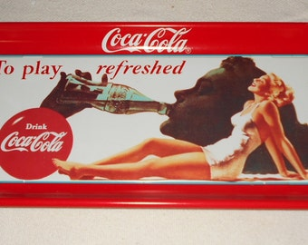 1990 Coca Cola Metal Advertising Tray ~ Play Refreshed - Silhouette