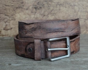 Leather Belt,Mens Belt,Heavy Duty Belt ,Distressed Cowhide Belt ,Brown , Rock Texture