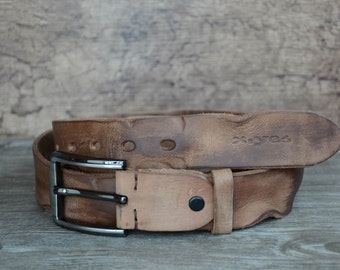 Mens Belt ,Leather Belt ,Full Grain,Durable Belt ,Tan Brown,Distressed Belt