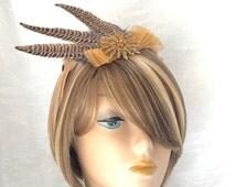 Feather Fascinator - Pheasant Feather Hat - Roaring Twenties Hat - Feather Headband - Flapper Style - Victorian Bride - Derby Hat -Steampunk