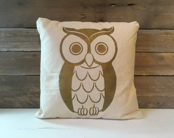 Owl Pillow, Cotton Canvas Pillow, Owl Decor, Decorative Pillow