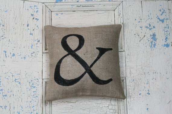 Items similar to ampersand pillow burlap pillow for Ampersand decoration etsy