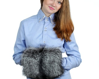 Silver fox fur muff