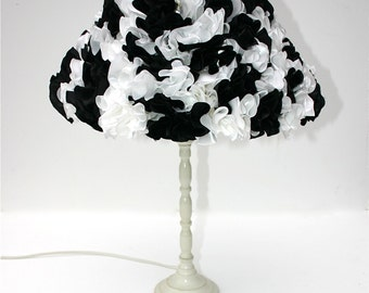 Black and white lampshade black lampshade white lampshade ruffle lampshade table lamp glamorous lamp Vivo 50's frilly lampshade monochrome.
