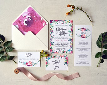Bohemian Wedding Invitation Suite, Wedding Invites, Floral Watercolor Invitations