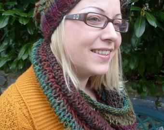 Set Beanie/Loop autumn knitted