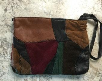 Vintage 1970 Stitched Leather Patchwork Wrist Clutch Bag Purse