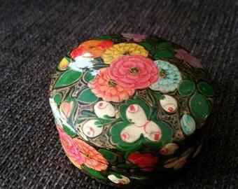 Vintage Round Handmade Trinket Box Kashmir India Free Shipping