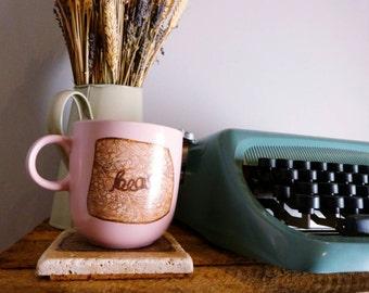 "Unique signature Twine bear ""bear"" floral twine decal pink mug"