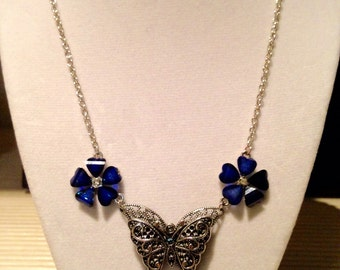 Navy Blue Flower and Silver Butterfly Necklace, Silver Butterfly Necklace, Butterfly Necklace, Flower Necklace