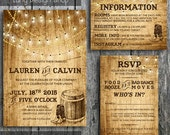 Country Wedding Invitation Suite with Lights and Cowboys Boots, Invitation, RSVP and Information Card