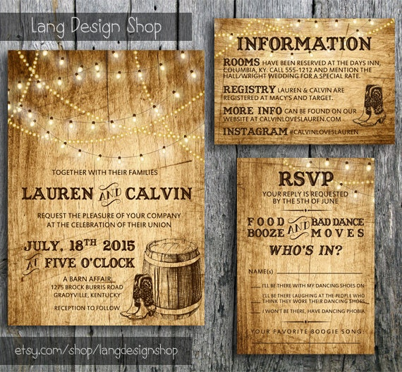 Country Wedding Invitation Suite with Lights and