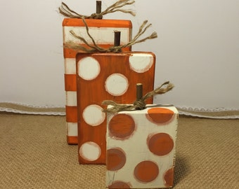 Wood Pumpkin Fall Desk Top  trio Display for Home or Office