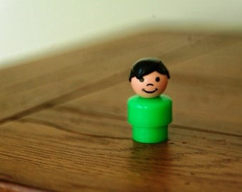 1960s Fisher Price People - smiling green man with black hair - 60s vintage toy