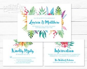 Boho Wedding Invitation Printable Aqua Blue, RSVP Card Details Card, Boho Wedding Invites, Floral Wedding Invitations, Garden Wedding Invite