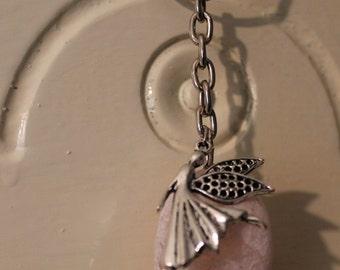 Key Chain Rosequartz with Fairy