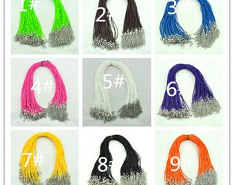 20pcs 18'' Mixed Colors Waxed Cotton Cord Necklace With Lobster Clasp&5cm Extension Chain size