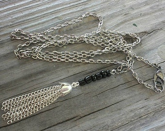 Tassel Necklace, Bead Necklace, Tassel, Necklace, Gunmetal