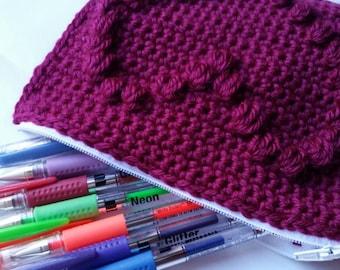 Berry heart zippered  pouch