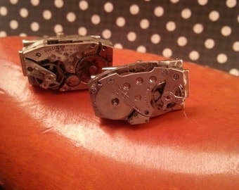 Steampunk**Industrial**Pair of Watch Movement Cuff Links