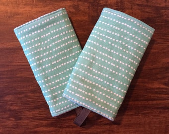ORGANIC Reversible Teething Pads - Blue Dashes and Dots