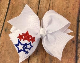 Stars hair bow, summer hair bow, holiday hair bow, double layer hair bow