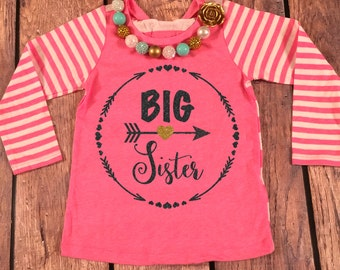 Big Sister Shirt Little Sister Shirt Personalized Shirt Sibling Shirts Sister Shirt Pregnancy Announcement Shirt Baby Announcement Shirt