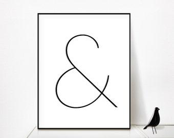 ampersand print, ampersand, black and white, poster, typography print, minimalist print, digital print, typographic print, ampersand design