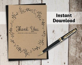 Printable Wedding Thank You Card Template - Rustic Foliage Winter Wreath on Kraft Paper   Editable PDF Instant Download   4x6 or 5x7