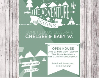And So The Adventure Begins Baby Shower Invite - Digital