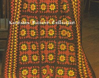 Crochet Granny's Sunflowers Afghan Pattern #KC0325, Intermediate Skill Level, Crochet PDF Pattern